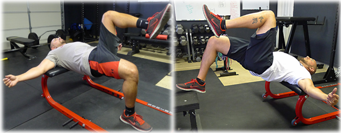 Go from a single leg hip thrust to foot elevated hip thrust